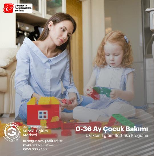 Sertifikalı 0-36 Ay Çocuk Bakımı Eğitimi , SGK Çalışan Anne Desteği Programına Uygundur. SGK Çalışan Anne Desteğinden Faydalanmak İçin Gereken Çocuk Gelişimi Sertifikası Almak İçin İnceleyiniz.