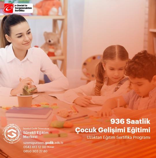 936 Saat sürecek olan Çocuk Gelişimi Eğitimi ile Kamu ve Özel sektör kurumlarının talep ettiği 936 saatlik çocuk gelişimi sertifikasına sahip olabilirsiniz.